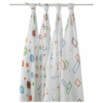 Aden + Anais 100% Cotton Alpha Bit Muslin Swaddle Wrap-4 Pack