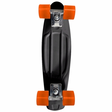 Chicago Skates Cruiser Retro Skateboard - Black with Orange Wheels