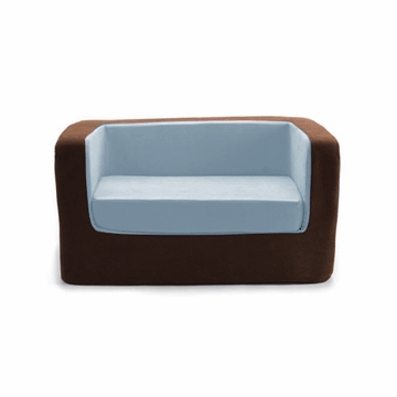 Monte Design Cubino Loveseat in Brown/Light Blue