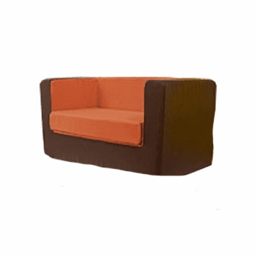 Monte Design Cubino Loveseat in Brown/Orange