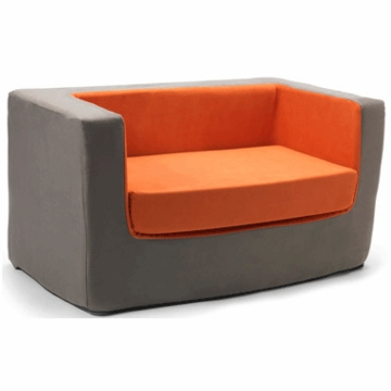 Monte Design Cubino Loveseat in Charcoal/Orange
