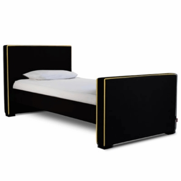 Monte Design Dorma Twin Bed in Black Bonded Leather