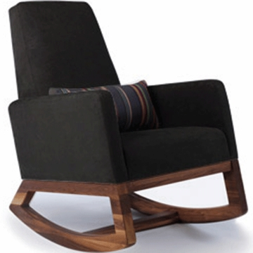 Monte Design Joya Rocker Walnut Base in Black Bonded Leather