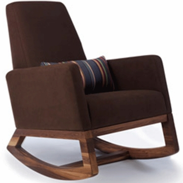 Monte Design Joya Rocker Walnut Base in Brown Bonded Leather