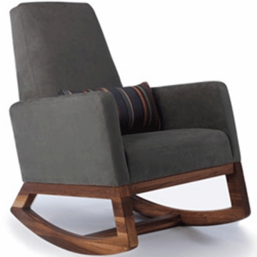 Monte Design Joya Rocker Walnut Base in Charcoal