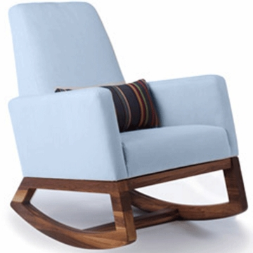Monte Design Joya Rocker Walnut Base in Light Blue