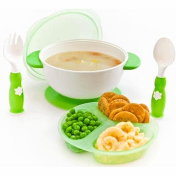 ZoLi Baby Stuck Suction Bowl Feeding Kit in Green