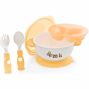 ZoLi Baby Stuck Suction Bowl Feeding Kit in Orange