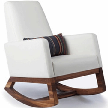Monte Design Joya Rocker Walnut Base in White Bonded Leather