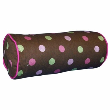 Bananafish Raspberry Truffle Bolster Pillow in Dot