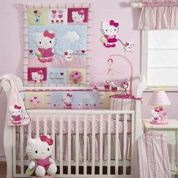 Bedtime Originals Hello Kitty & Puppy 3 Piece Crib Bedding Set