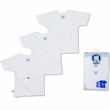 Gerber Side-Snap Tagless Shirts- 0-3 Months
