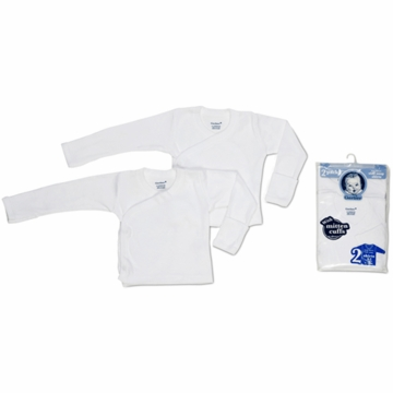 Gerber Long Sleeve Side-Snap Tagless Shirts- 0-3 Months