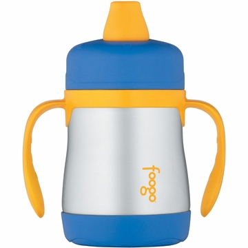 Thermos Foogo Leak Proof Stainless Steel Sippy Cup - 7 Ounce - Blue/Yellow