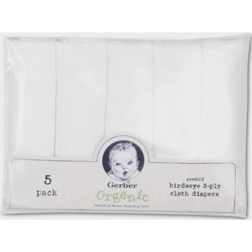 Gerber White 5 Pack Organic Diapers