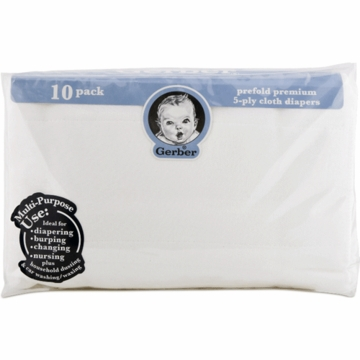 Gerber White 10 Pack Prefold Gauze 5-Ply Cloth Diapers