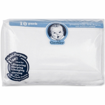 Gerber White 10 Pack Prefold Gauze 6-Ply Cloth Diapers with Absorbent Padding
