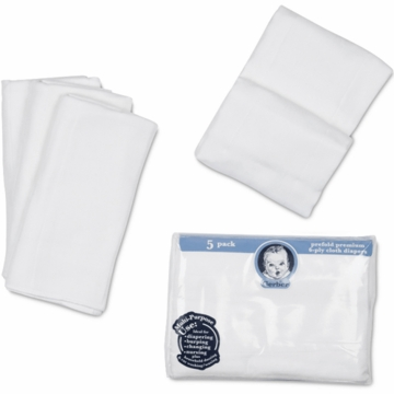 Gerber White 5 Pack Prefold Premium Gauze 6-Ply Cloth Diapers