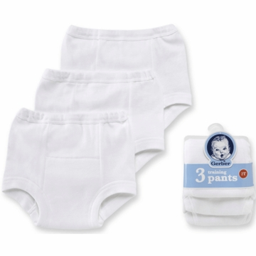 Gerber White 3 Pack Training Pant- 3T