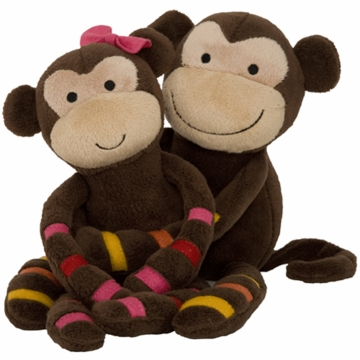 Lambs & Ivy S.S. Noah Momo & Mimi - Plush Monkeys  (Set of 2)