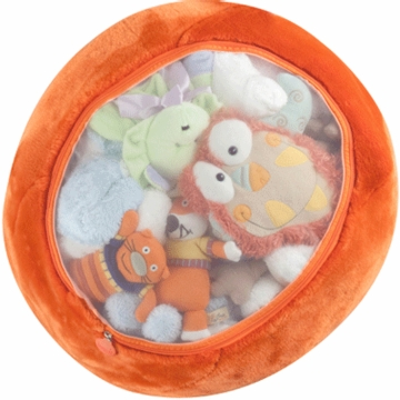 Boon Animal Bag Stuffed Animal Storage in Tangerine