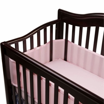 Breathable Baby Breathable Safer Bumper -Fits All Cribs - Pink
