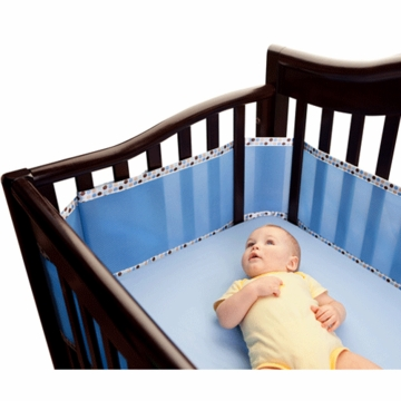 Breathable Baby Fashion Trim Bumper in Ice Blue/Brown Fauna