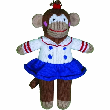 "Zubels Monkey Girl Dorris 12"" Hand-Knit Doll"