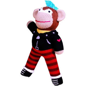 "Zubels Organic Rock-A-Billy Rock N' Roll Monkey 12"" Hand-Knit Doll"