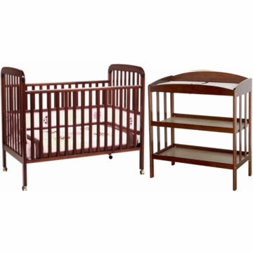 DaVinci Alpha 3 in 1 Convertible Crib & Monterey Changing Table 2 Piece Nursery Set in Cherry