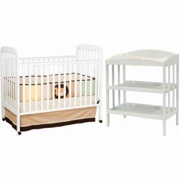 DaVinci Alpha 3 in 1 Convertible Crib & Monterey Changing Table 2 Piece Nursery Set in White