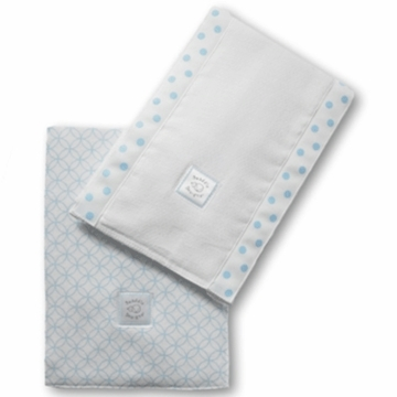 SwaddleDesigns Baby Burpie Set in Very Light Blue with Pastel Blue Circle on Circle