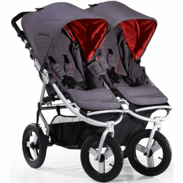 "Bumbleride 2012 Indie Twin Double All Terrain Stroller with 12"" Tires in Fog"