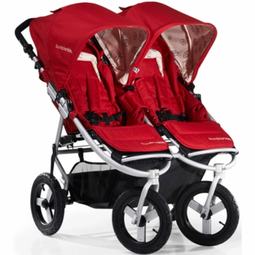 "Bumbleride 2012 Indie Twin Double All Terrain Stroller with 12"" Tires in Ruby"