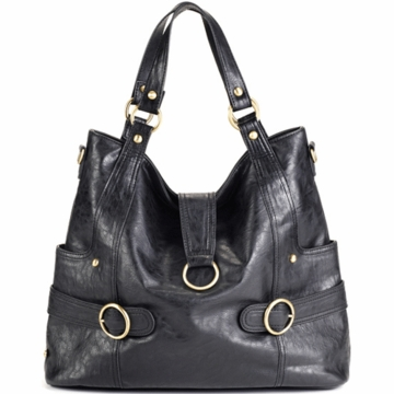 Timi & Leslie Hannah Designer Leather Diaper Bag in Black