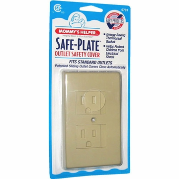 Mommys Helper Safe Plate Sliding Outlet Cover - Almond