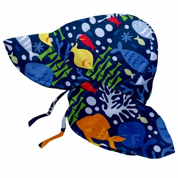 iPlay Flap Sun Protection Hat - Classics Navy Undersea - Infant (6-18 mo)
