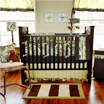 My Baby Sam Paisley Splash in Lime 4 Piece Crib Bedding Set
