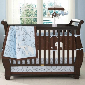 Carter's Blue Elephant 4 Piece Baby Crib Bedding Set