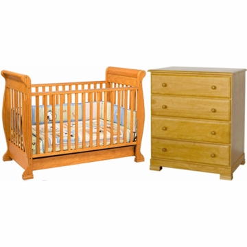 DaVinci Anastasia 4 in 1 Convertible Crib & Kalani 4 Drawer Dresser 2 Piece Nursery Set in Oak