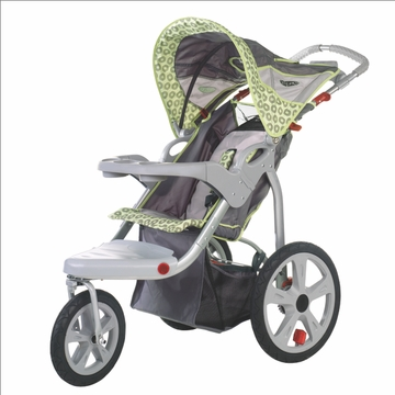 InSTEP Safari Swivel Jogging Stroller-Single  Gray/Green