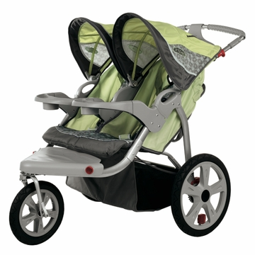 InSTEP Safari Swivel Jogging Stroller-Double Green/Gray