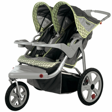 InSTEP Safari Swivel Jogging Stroller-Double  Gray/Green