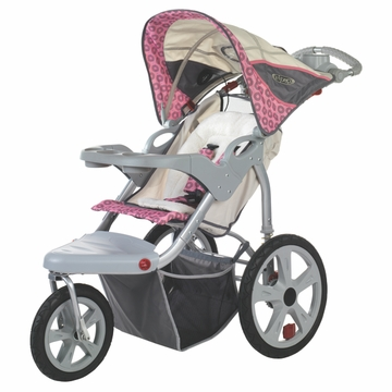 InSTEP Grand Safari Swivel Jogging Stroller-Single Tan/Pink