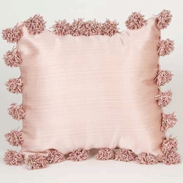 Glenna Jean Madison Pink with Pom Poms Pillow