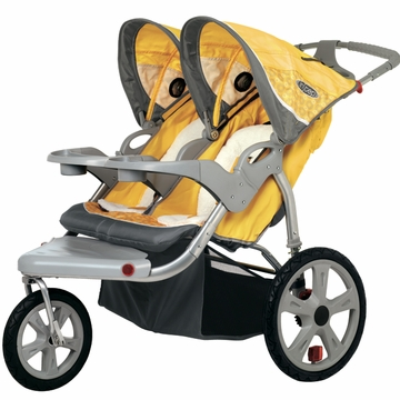 InSTEP Grand Safari Swivel Jogging Stroller-Double Yellow/Gray