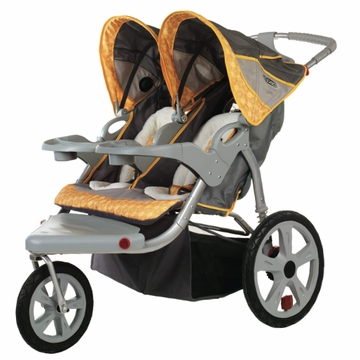 InSTEP Grand Safari Swivel Jogging Stroller-Double Gray/Yellow