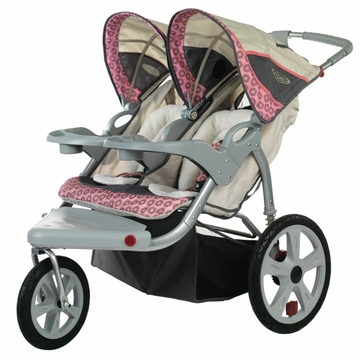 InSTEP Grand Safari Swivel Jogging Stroller-Double Tan/Pink