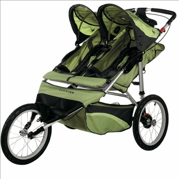 Schwinn Arrow Fixed Jogging Stroller-Double  Green/Gray
