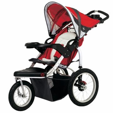 Schwinn Turismo Swivel Jogging Stroller-Single Red/Gray